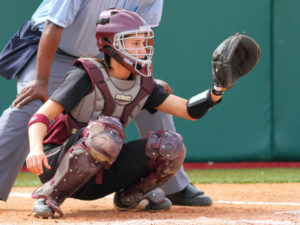 girl softball catcher